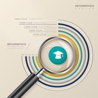 虫眼鏡要素と教育インフォグラフィックテンプレートデザイン