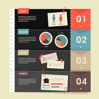 メモ用紙と教育インフォグラフィックテンプレートデザイン