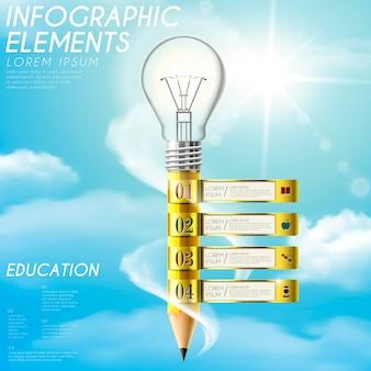 Образовательный инфографический шаблон с элементами карандаша и лампочки