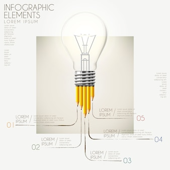 鉛筆と電球の要素を持つ教育インフォグラフィックテンプレートデザイン
