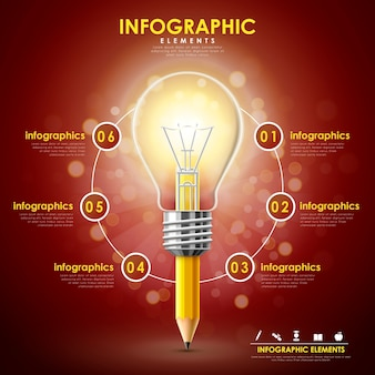 Education infographic template design with pencil and bulb elements