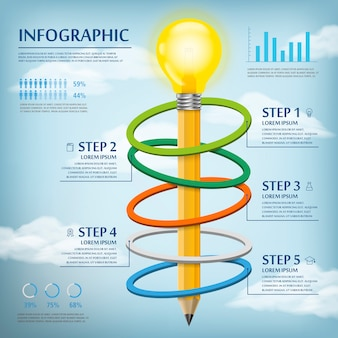 Education infographic template design with pencil bulb