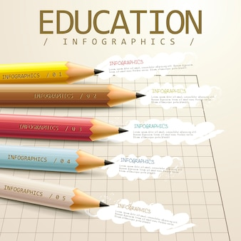 Education infographic template design with pencil elements