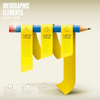Education infographic template design with pencil and ribbon elements