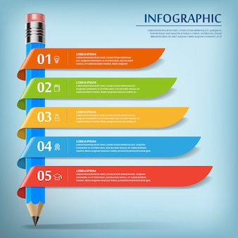 Education infographic template design with pencil and ribbons