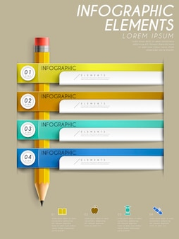 Education infographic template design with pencil and tags