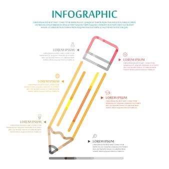 얇은 선 연필 요소와 교육 infographic 템플릿 디자인