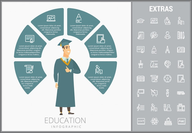 Education infographic template, elements and icons