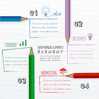 Education infographic with colorful pencils on white paper.