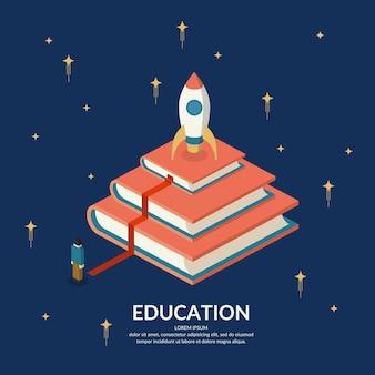 Инфографика образования. концептуальная иллюстрация на тему обучения и повышения квалификации.