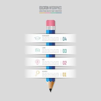 教育infographicsテンプレート4ステップオプション。タイムラインのインフォグラフィックデザインベクター。