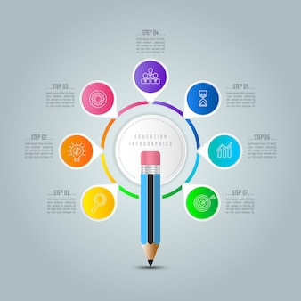 Education infographics template 7 step option.