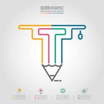 教育infographicsテンプレートの卒業キャップと鉛筆のアイコン。