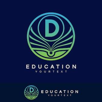Education initial letter d logo design