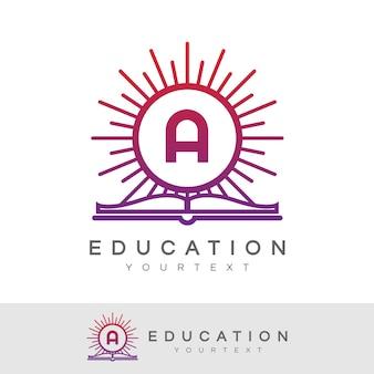 Education initial letter a logo design