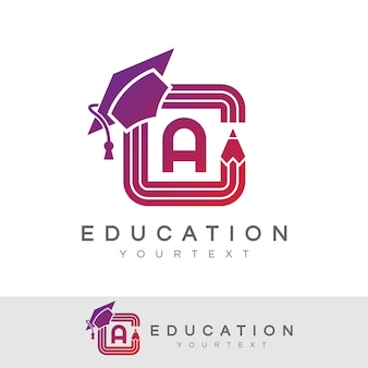 Education initial letter a logo design