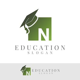 Education initial letter n logo design