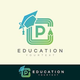 Education initial letter p logo design