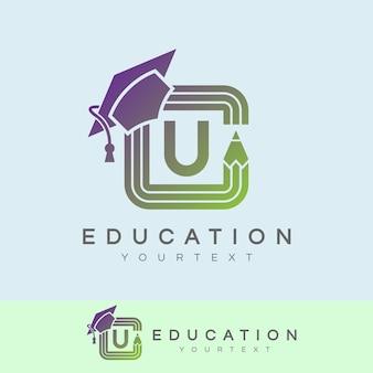 Education initial letter u logo design