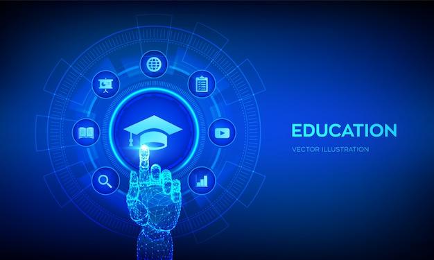 교육. 가상 화면에 혁신적인 온라인 전자 학습 및 인터넷 기술 개념. 로봇 손 만지고 디지털 인터페이스.