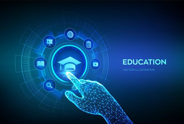 교육. 혁신적인 온라인 전자 학습 및 인터넷 기술 개념. 로봇 손 만지고 디지털 인터페이스.