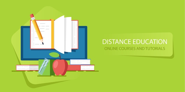 Education in internet course and webinar, distance education