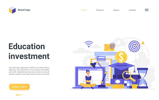 Education investment landing page student investing in academic knowledge studying