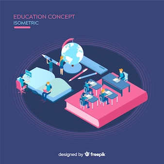 Education isometric background