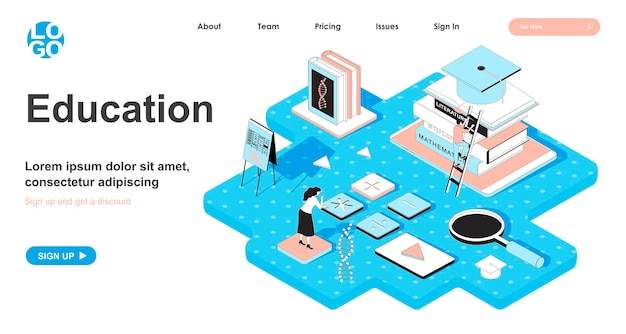Education isometric concept in 3d design for landing page