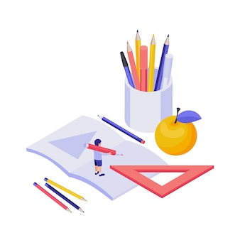 Education isometric concept with 3d pupil and stationery