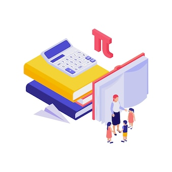Education isometric concept with human characters illustration