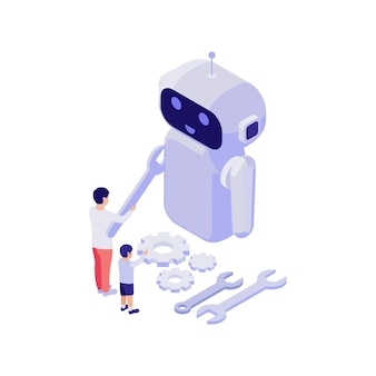 Education isometric concept with man and child constructing robot 3d illustration