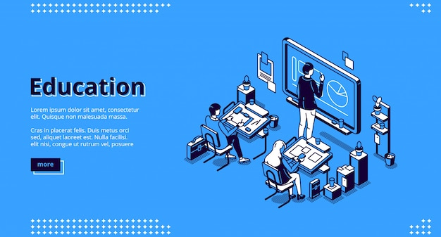 Education isometric landing page, teacher students