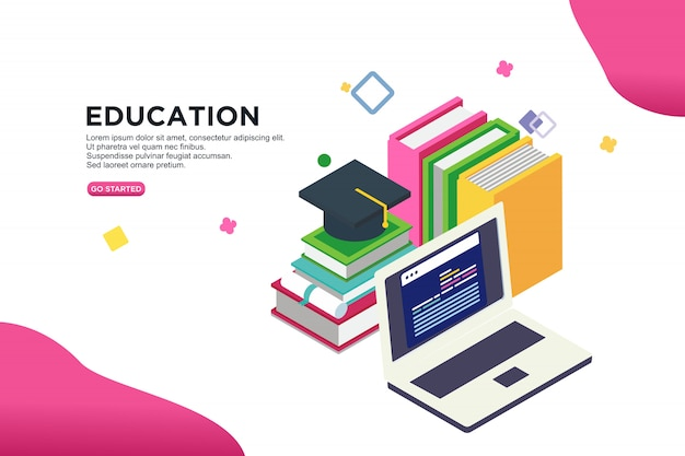 Education isometric vector illustration concept