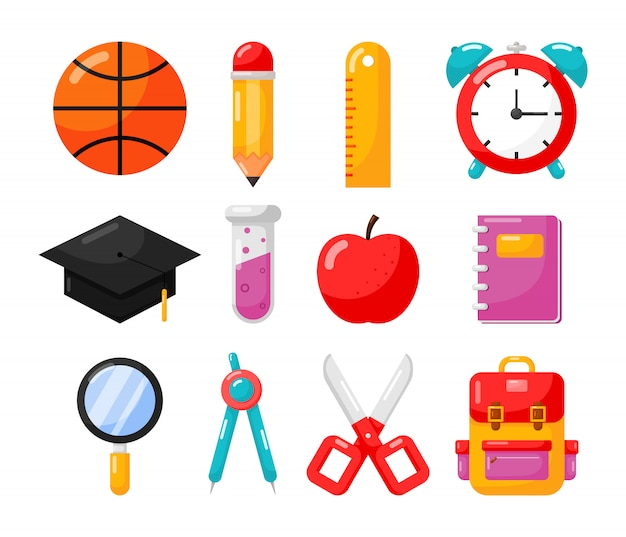 Education items. school icon isolated on white background.