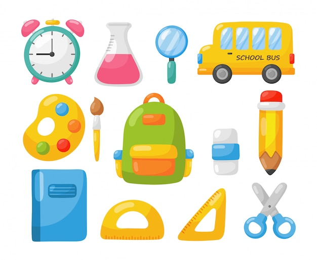 Education items. school icon isolated