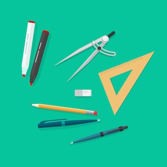 Education items or school study tools icons set vector flat cartoon