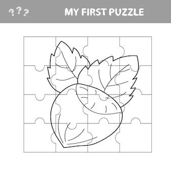 너트가 있는 미취학 아동을 위한 교육 직소 퍼즐 게임 - 내 첫 번째 퍼즐 및 색칠 공부