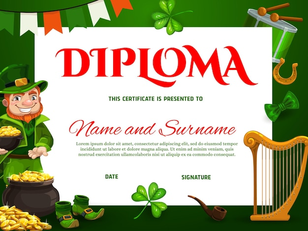 Education kids school diploma template with st patricks day leprechaun