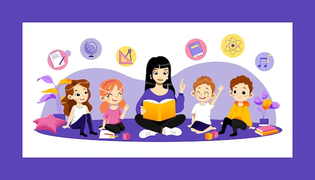 Education in kindergarten and back to school concept. young cheerful teacher reading book to children at school or kindergarden. happy kids listening to woman