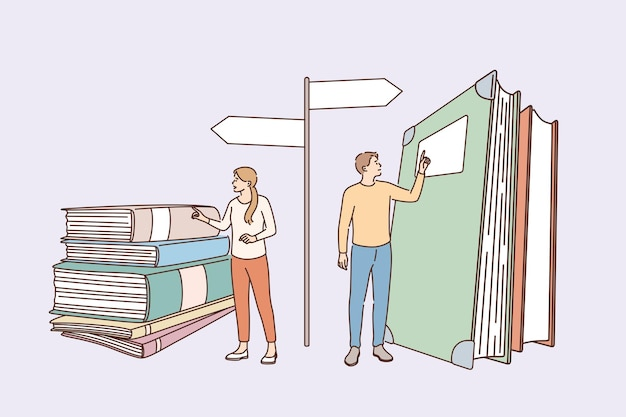 Education, knowledge and choosing profession concept. young girl and boy standing bear books heaps choosing way of development profession speciality vector illustration