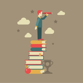 Education knowledge future vision concept flat   illustration. man looking through spyglass stands on book heap near apple clouds  cup winner
