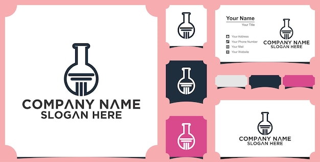 Education lab shape concept logo and business card
