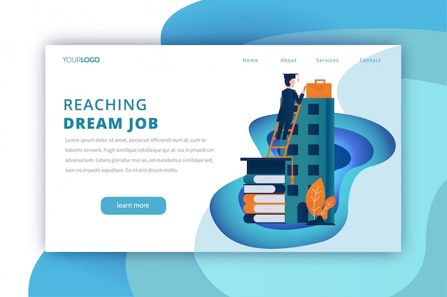 Education landing page template with reaching the dream job theme