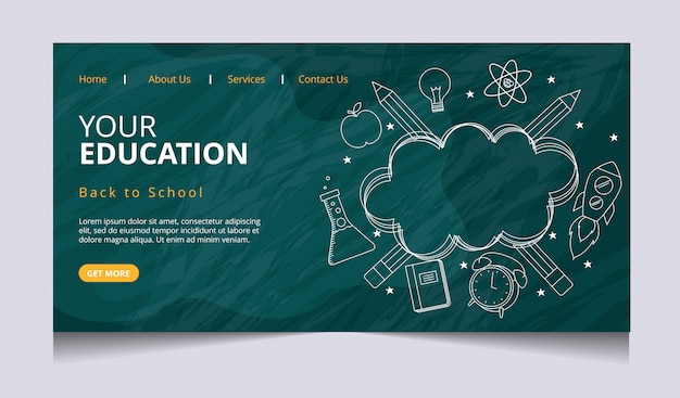 Education landing page vector