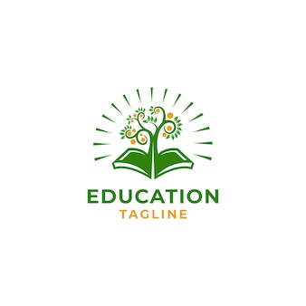 Education leaf vector icon illustration design template