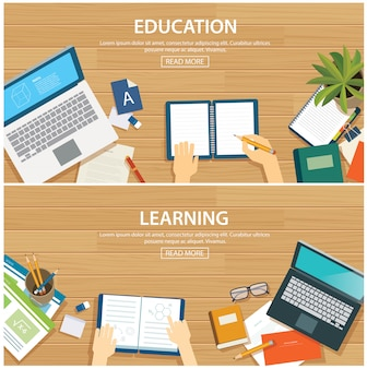 Education and learning banner flat design template.