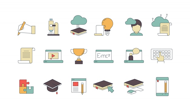 Education and learning elements linear icon set