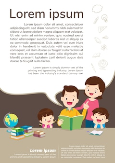 Education and learning, family and children reading a book. text template.