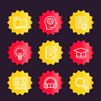 Education, learning linear icons, vector badges set